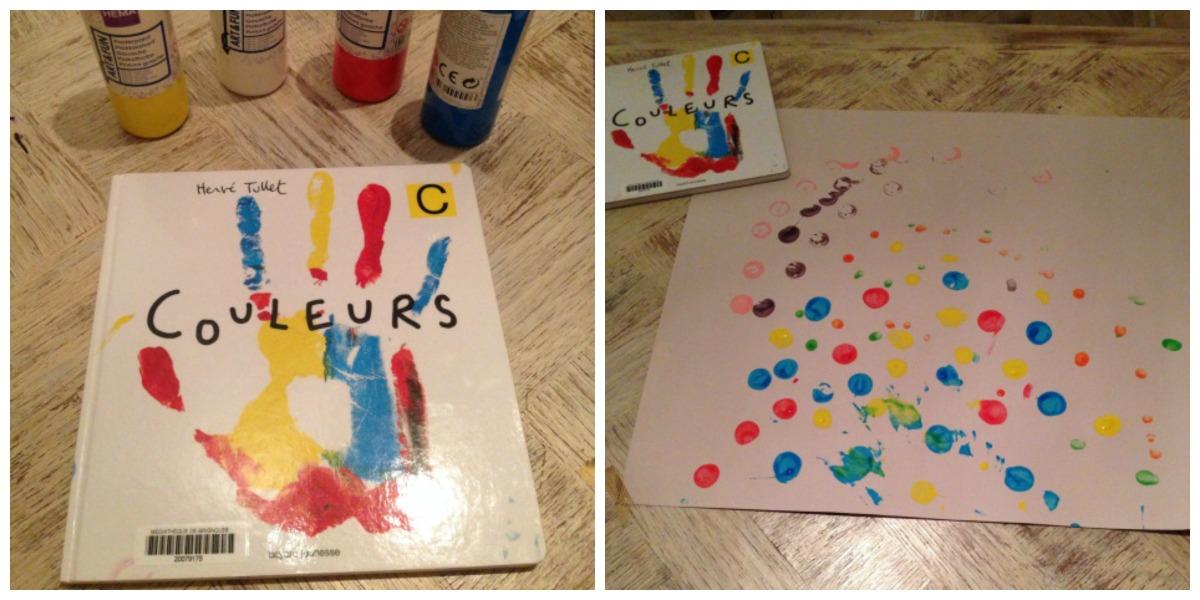 """Activités pour les enfants: peinture avec le livre """"Couleurs""""  d'Hervé Tullet"""